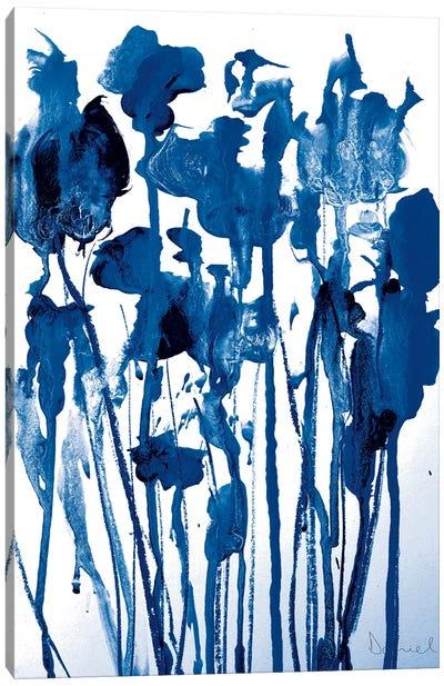Navy Flowers Canvas Art Print