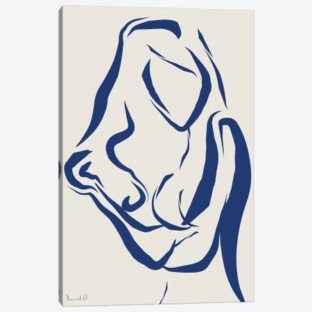 Nude Navy I Canvas Print #HOB69} by Dan Hobday Canvas Wall Art