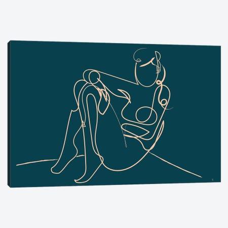 Teal Nude Canvas Print #HOB94} by Dan Hobday Canvas Artwork
