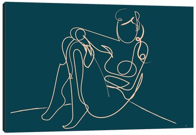 Teal Nude Canvas Art Print