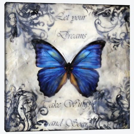 Flutter By 3 Canvas Print #HOD107} by Heather Offord Canvas Artwork