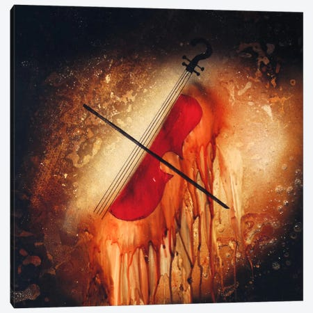 Violin Canvas Print #HOD294} by Heather Offord Canvas Artwork