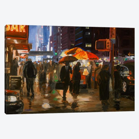 6th Avenue, New York Canvas Print #HOF1} by HJ Hofstra Art Print