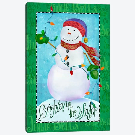 Brighten up Snowman Canvas Print #HOL12} by Ali Lynne Canvas Print