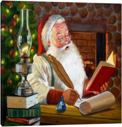 Santa Making a List Canvas Art Print