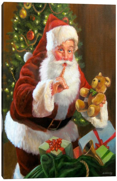 Santa with Teddy Bear Canvas Print #HOL17