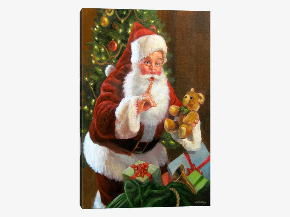Santa with Teddy Bear by David Lindsley 1-piece Canvas Art Print