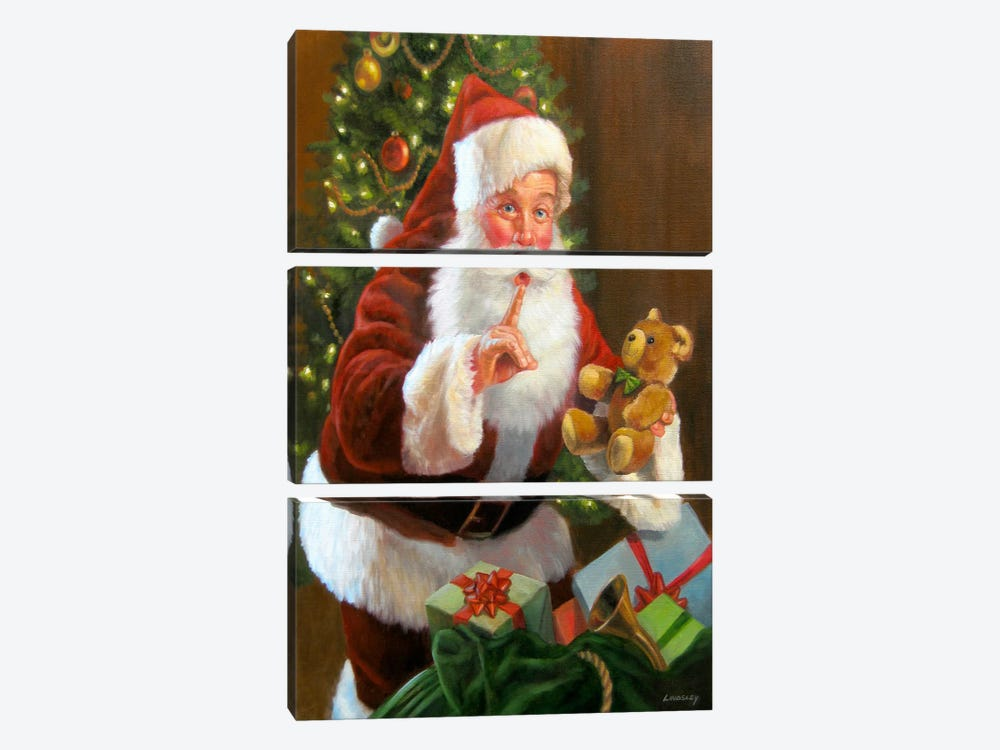 Santa with Teddy Bear by David Lindsley 3-piece Canvas Art Print