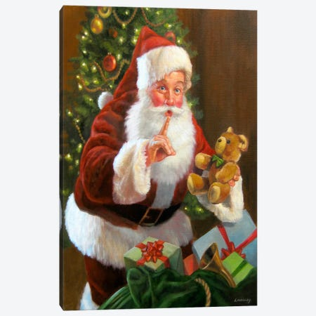 Santa with Teddy Bear Canvas Print #HOL17} by David Lindsley Canvas Art