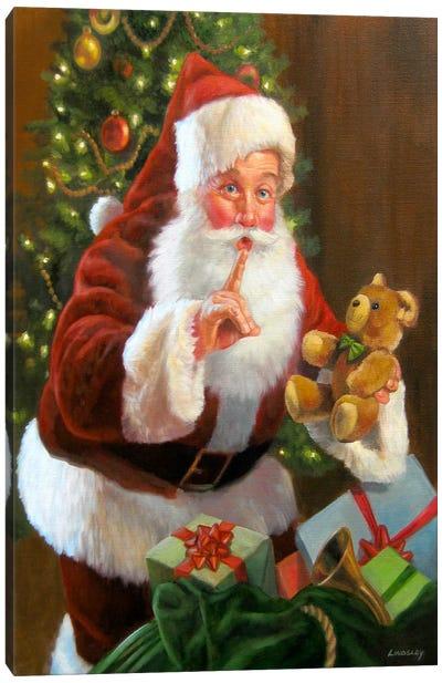 Santa with Teddy Bear Canvas Art Print