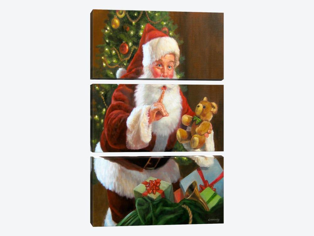 Santa with Teddy Bear by David Lindsley 3-piece Canvas Art Print