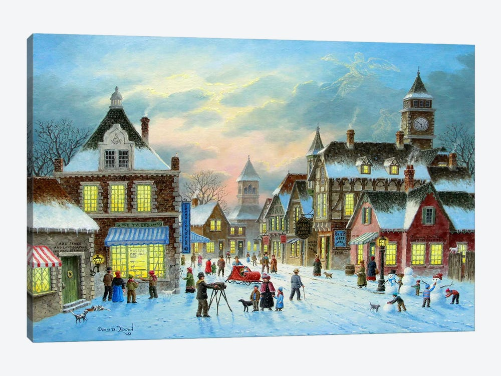 Town Village II by Dennis Lewan 1-piece Canvas Art Print