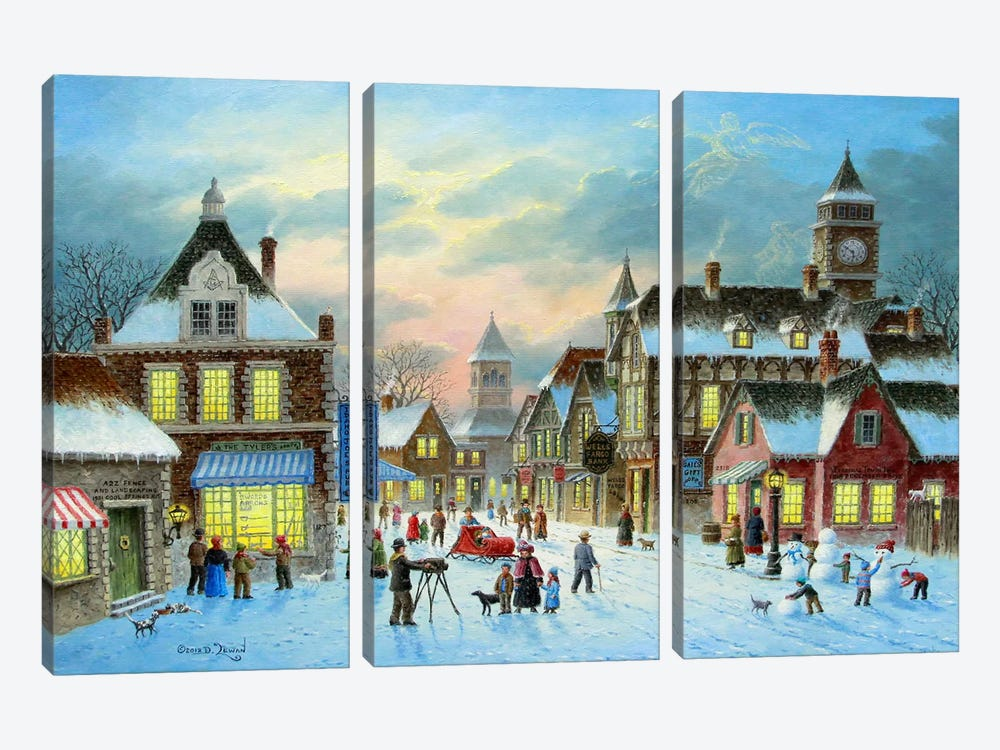 Town Village II by Dennis Lewan 3-piece Art Print