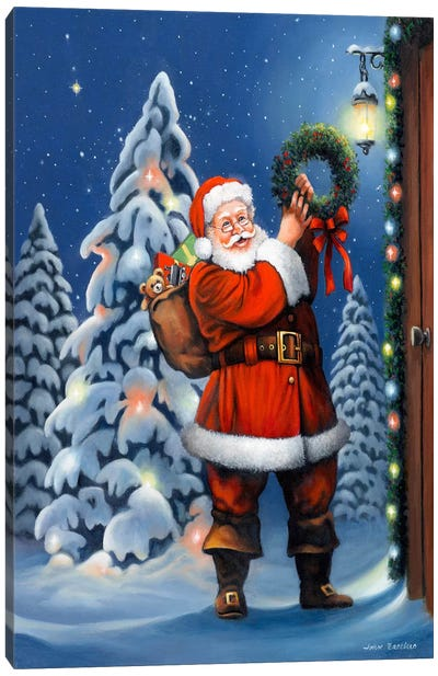 Santa Wreath Canvas Art Print