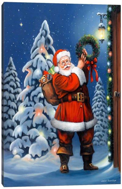 Santa Wreath Canvas Print #HOL21