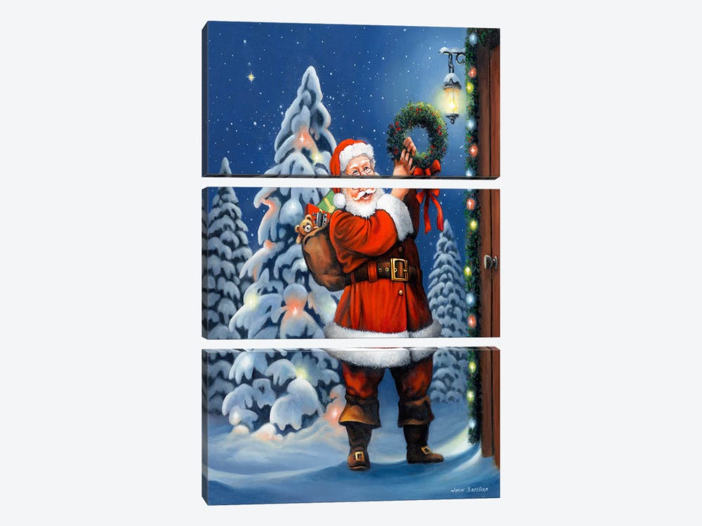 Santa Wreath by John Zaccheo 3-piece Canvas Art
