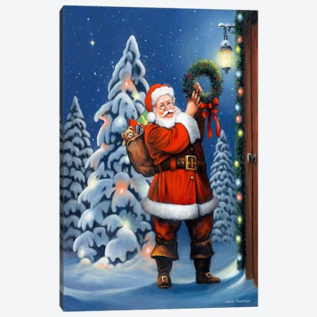 Santa Wreath Canvas Print #HOL21} by John Zaccheo Canvas Wall Art