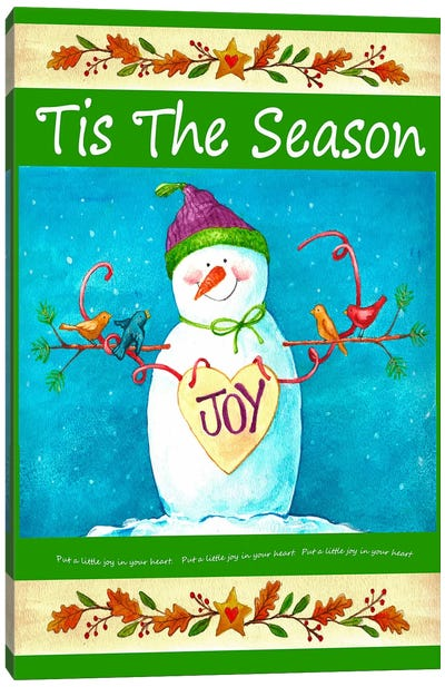 Snowman Season of Joy Canvas Art Print