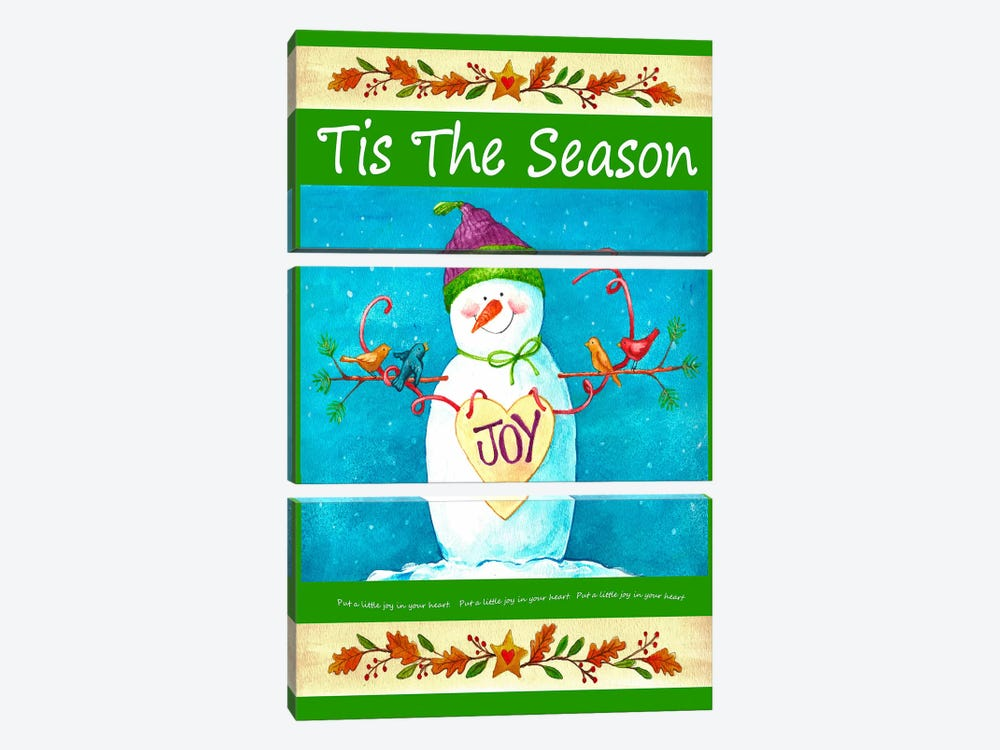 Snowman Season of Joy by Melinda Hipsher 3-piece Canvas Print