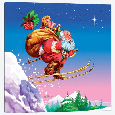 Santa Ski Canvas Print #HOL26} by Nate Owens Canvas Art Print