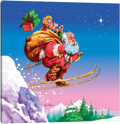 Santa Ski Canvas Art Print
