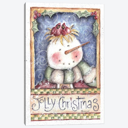 Jolly Christmas Snowman Canvas Print #HOL40} by Shelly Rasche Canvas Wall Art