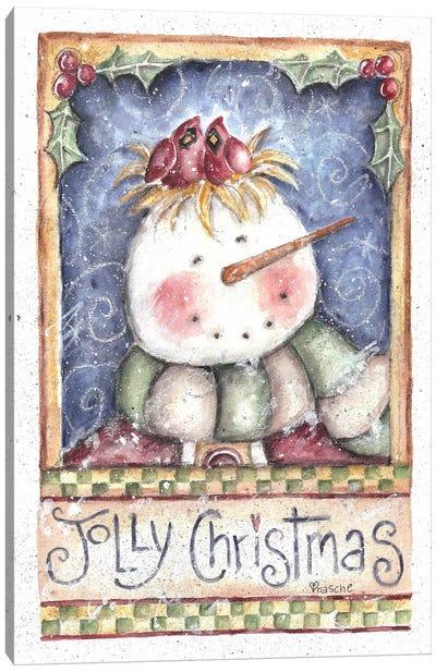 Jolly Christmas Snowman Canvas Print #HOL40