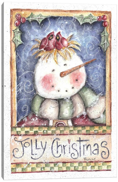 Jolly Christmas Snowman Canvas Art Print