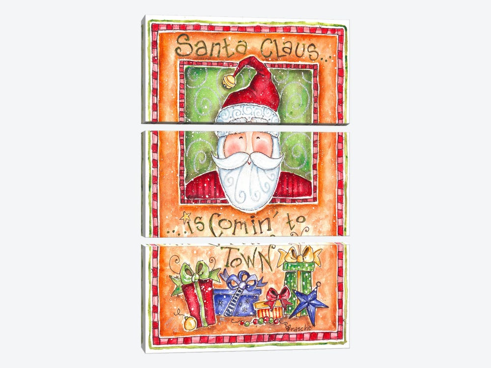 Santa Claus is Coming to Town by Shelly Rasche 3-piece Art Print