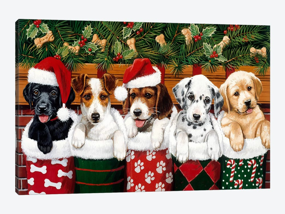 Christmas Puppies by William Vanderdasson 1-piece Art Print