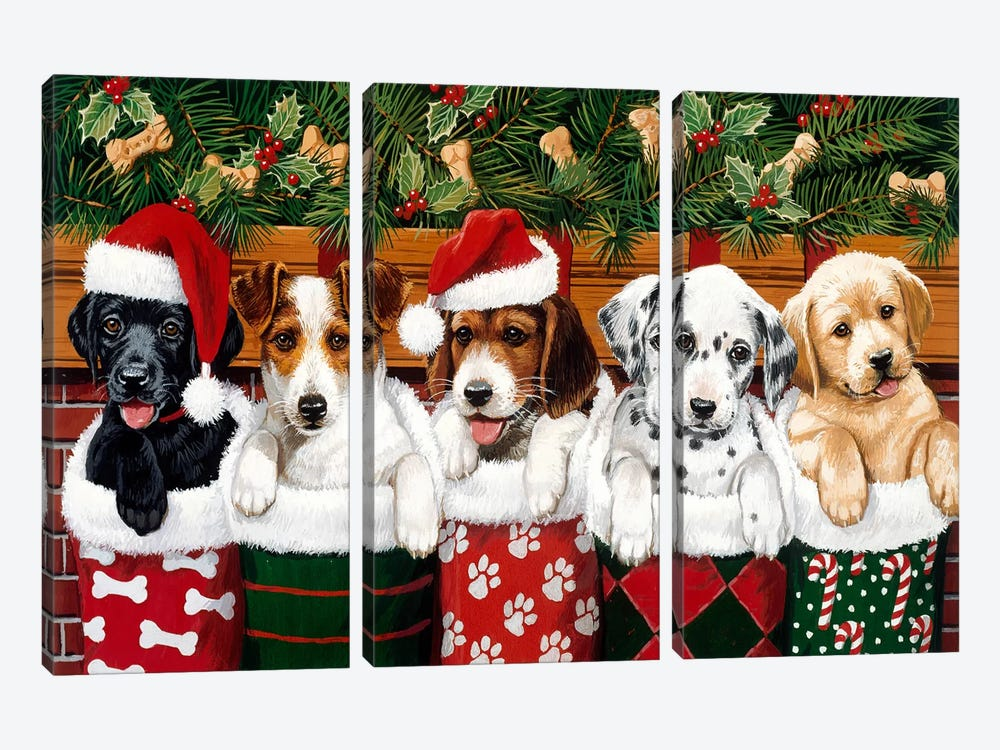 Christmas Puppies by William Vanderdasson 3-piece Art Print