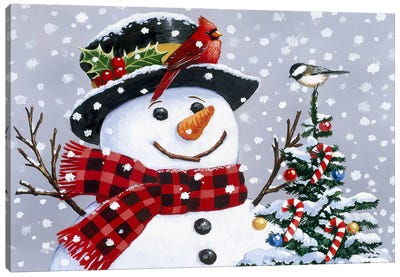 Snowman by William Vanderdasson Canvas Art Print