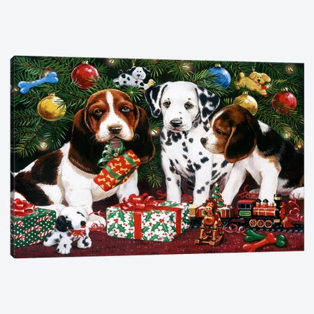 Christmas Puppies 2 Canvas Print #HOL53} by William Vanderdasson Art Print