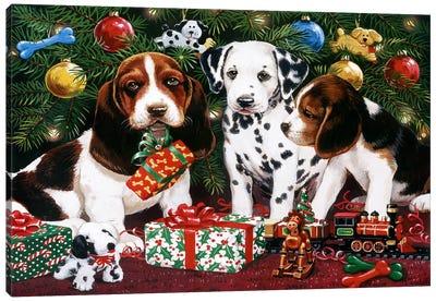 Christmas Puppies 2 Canvas Print #HOL53