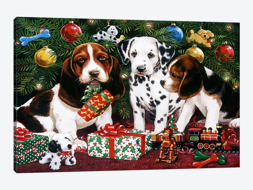 Christmas Puppies 2 by William Vanderdasson 1-piece Canvas Print