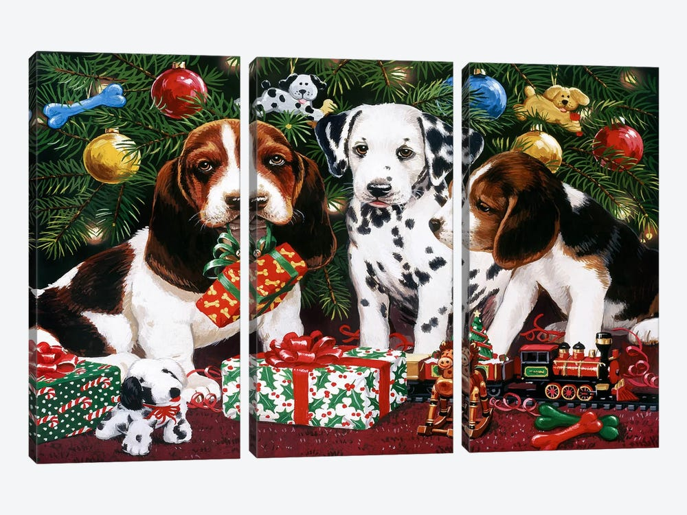 Christmas Puppies 2 by William Vanderdasson 3-piece Art Print