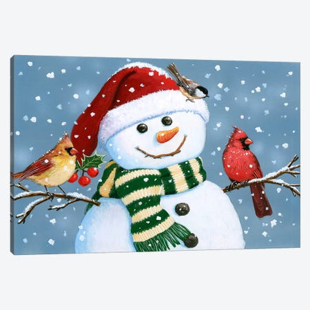 Santa Snowman Canvas Print #HOL54} by William Vanderdasson Canvas Art