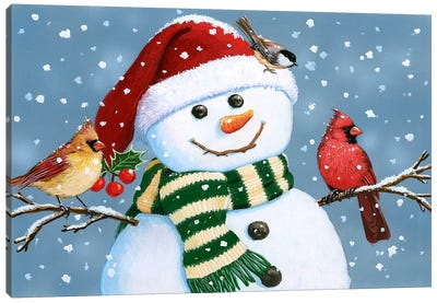 Santa Snowman Canvas Art Print
