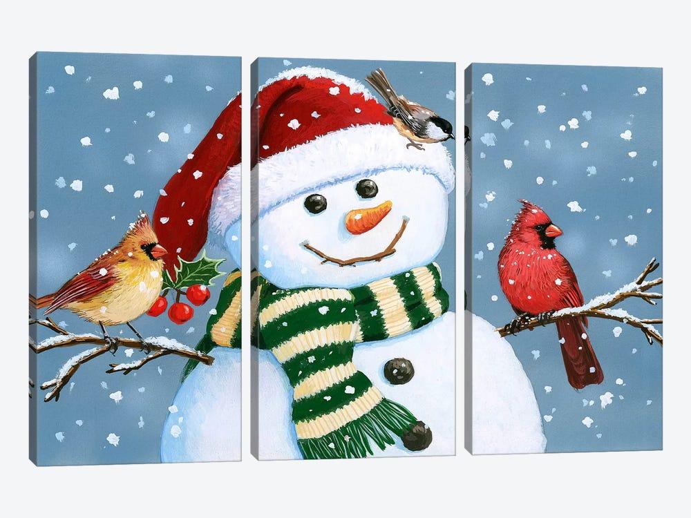 Santa Snowman by William Vanderdasson 3-piece Canvas Artwork