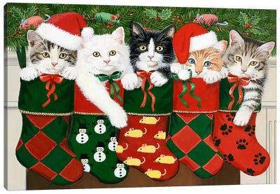 Christmas Kittens by William Vanderdasson Canvas Artwork