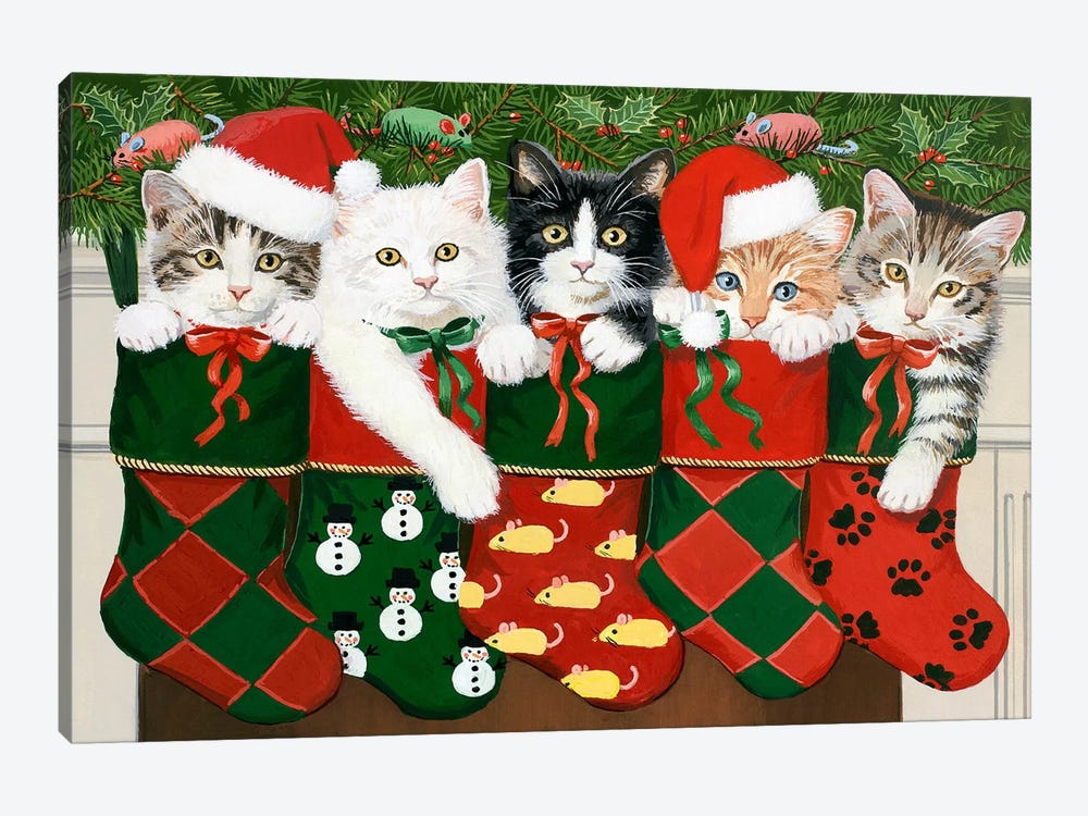Christmas Kittens by William Vanderdasson 1-piece Art Print