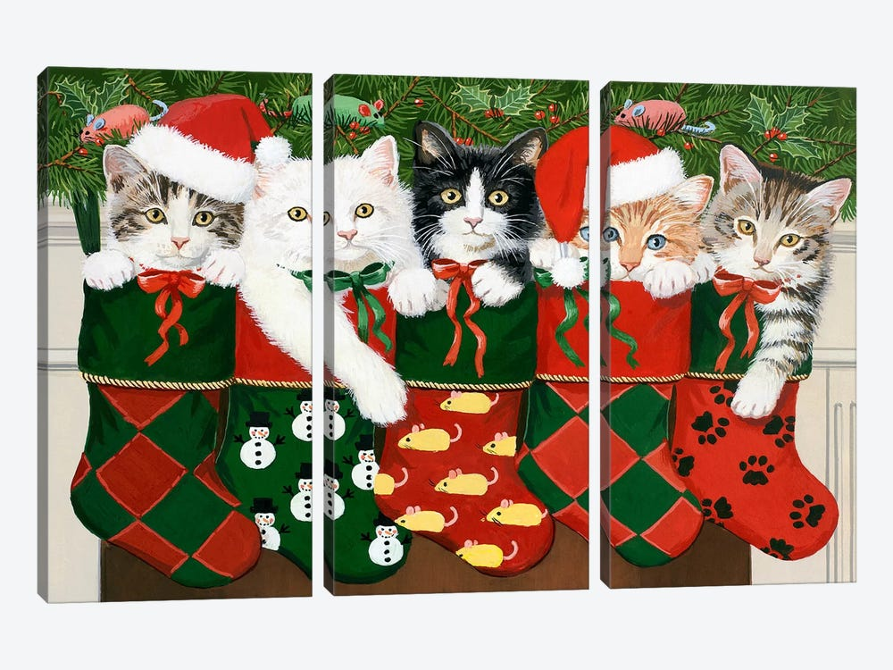Christmas Kittens by William Vanderdasson 3-piece Art Print