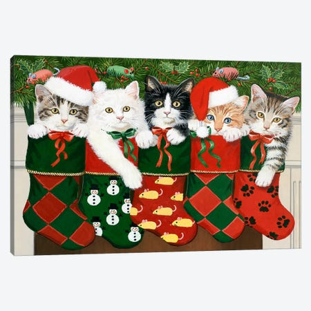Christmas Kittens Canvas Print #HOL55} by William Vanderdasson Canvas Artwork