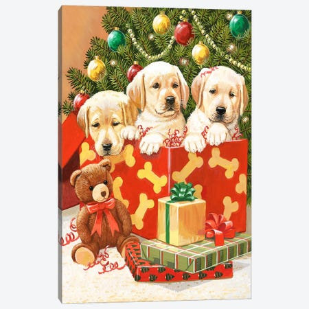 Holiday Puppies Canvas Print #HOL56} by William Vanderdasson Canvas Art