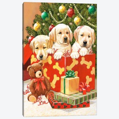 Holiday Puppies Canvas Print #HOL56} by William Vanderdasson Canvas Art