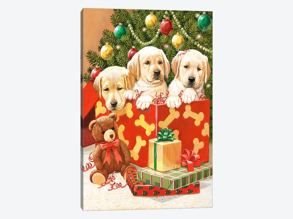 Holiday Puppies 1-piece Canvas Wall Art