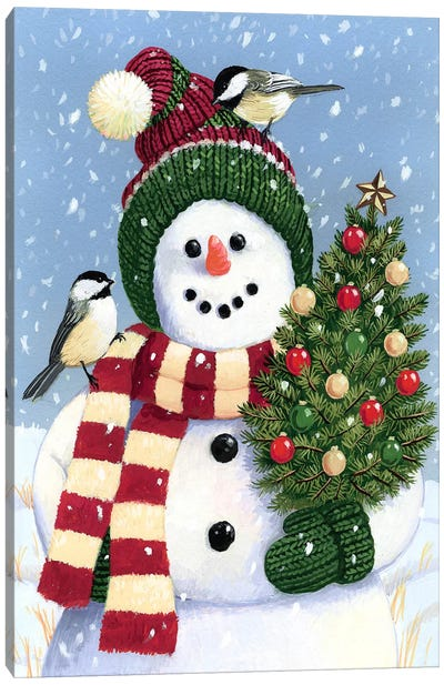 Snowman Holding A Christmas Canvas Art Print