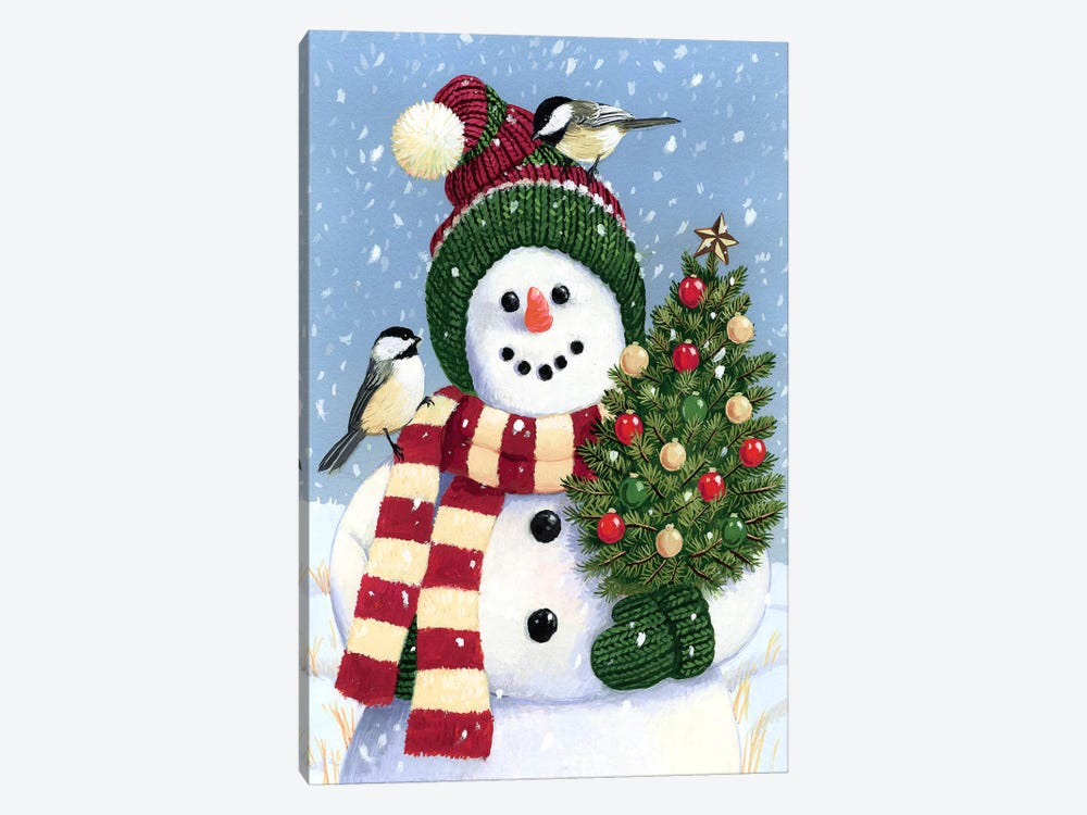 Snowman Holding A Christmas 1-piece Canvas Art Print