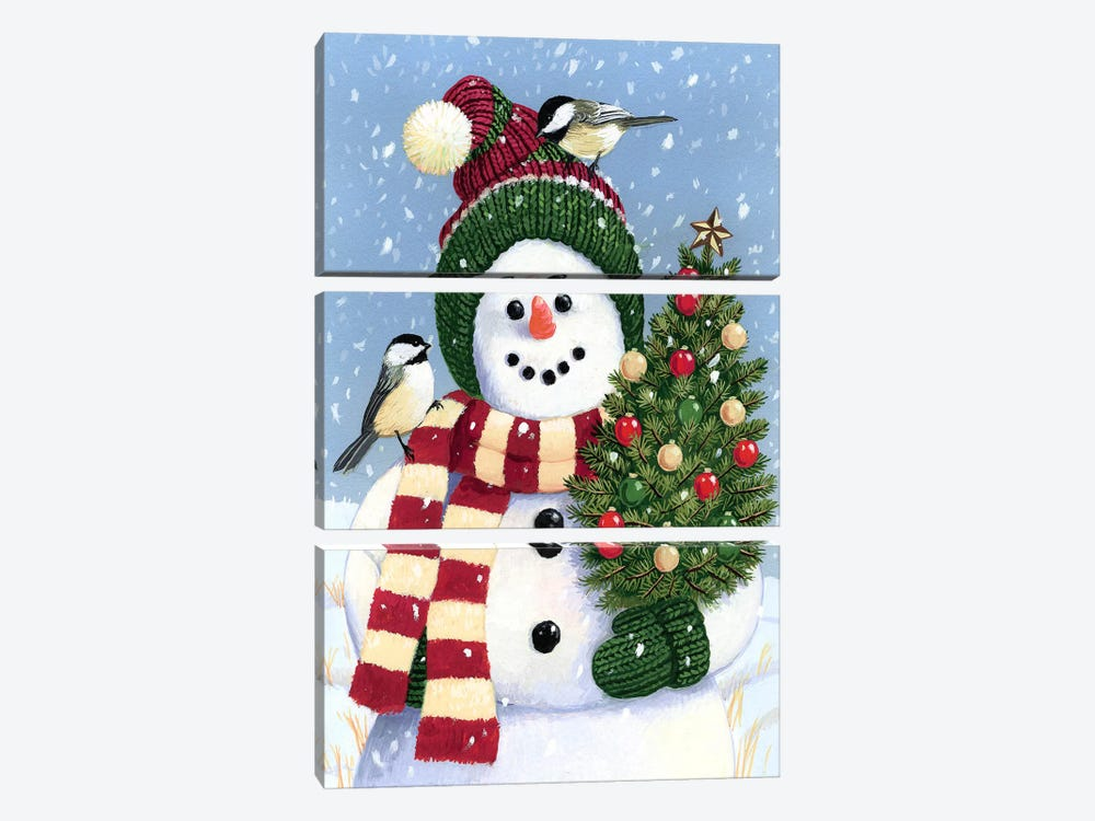 Snowman Holding A Christmas by William Vanderdasson 3-piece Canvas Print