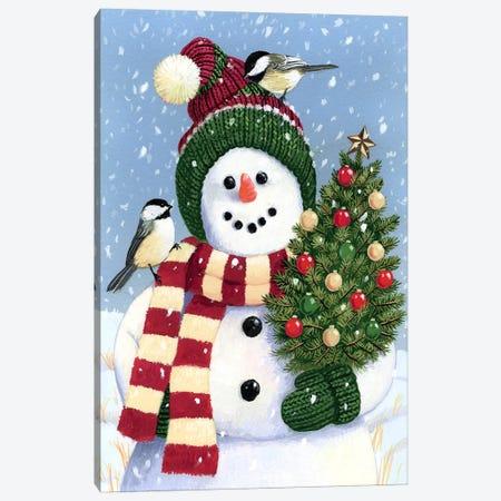 Snowman Holding A Christmas Canvas Print #HOL57} by William Vanderdasson Canvas Art